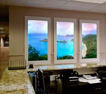 HealthPoint creates a beautiful panoramic view to nature using a set of three Luminous Virtual Windows