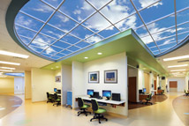 Kingwood Medical Center's Women and Children's Tower features a set of four custom semi-circular Luminous SkyCeilings